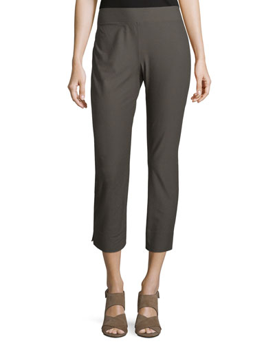 Stretch-Crepe Side-Slit Ankle Pants, Petite