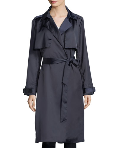 Sateen Belted Trench Coat