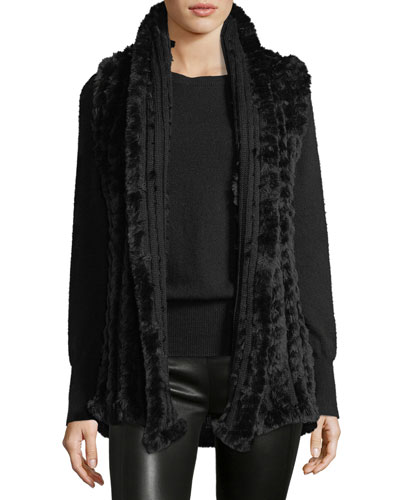 Faux-Fur Trim Knit Vest