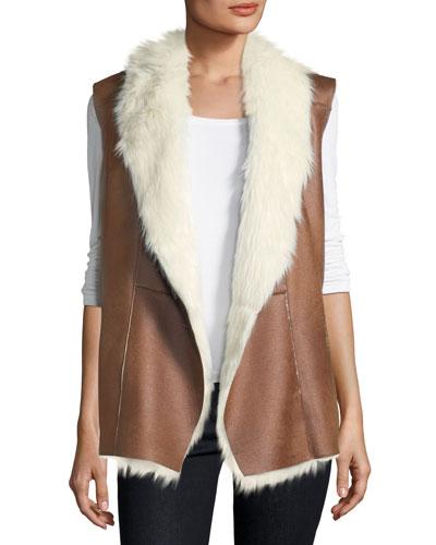 Faux-Shearling Cascade Vest