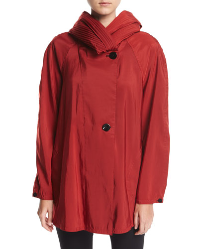 Mini Donatella Reversible Pleat Hood Packable Jacket