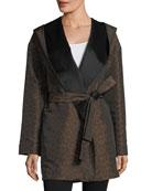 Hooded Reversible Animal-Print Wrap Coat