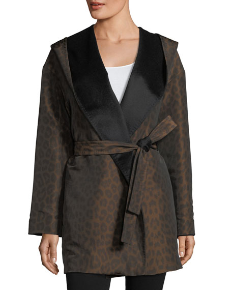 Mycra Pac Hooded Reversible Animal-Print Wrap Coat