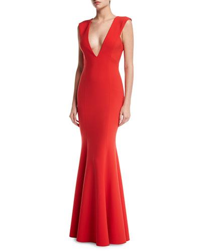 Victoria Sleeveless Deep V-Neck Mermaid Evening Gown