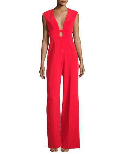 Plunging Sleeveless Wide-Leg Crepe Jumpsuit