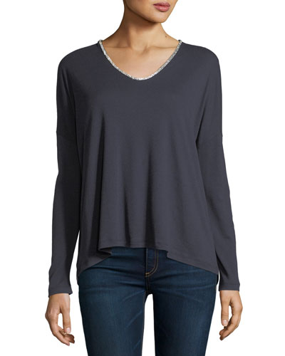 Long-Sleeve V-Neck T-Shirt w/ Swarovski® Trim