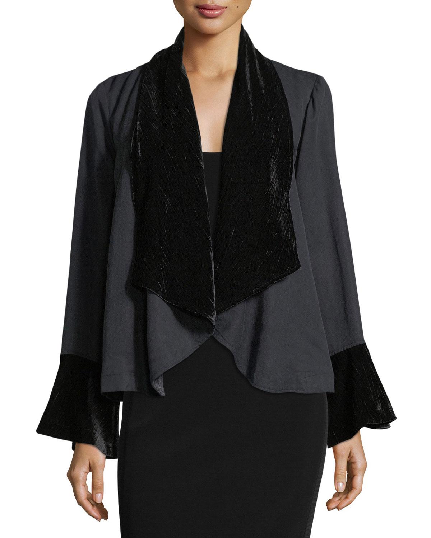 Crepe & Velvet Topper Jacket