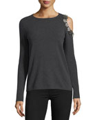 Embellished Exposed-Shoulder Cashmere Crewneck