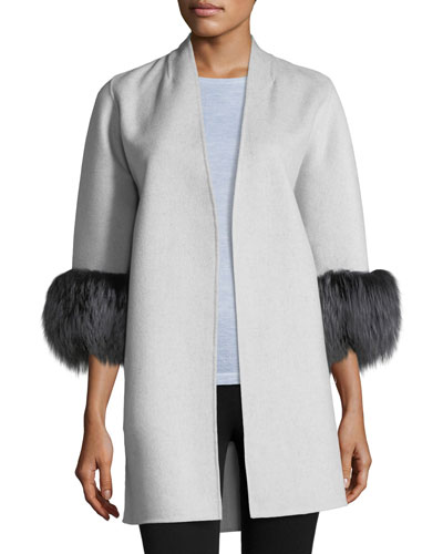 Luxury Cashmere Cocoon Jacket w/ Fox Fur Cuffs
