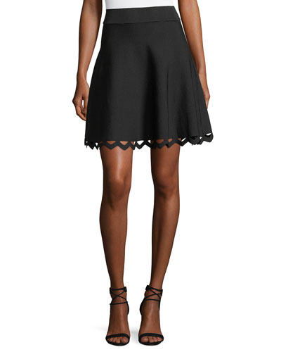 Cutout-Hem Flared Skirt
