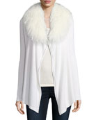 Luxury Chain-Trimmed Cashmere Cardigan w/ Tibetan Collar