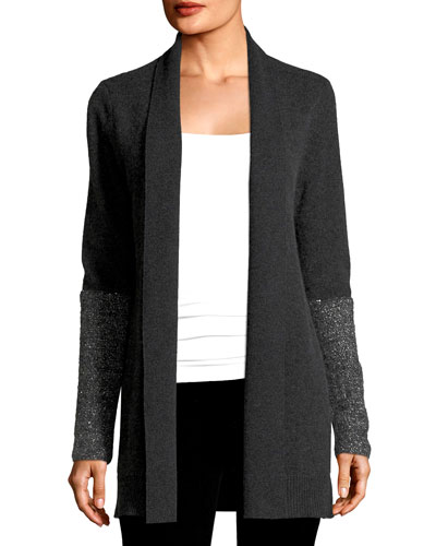 Open Cashmere Cardigan w/ Sequined Cuffs