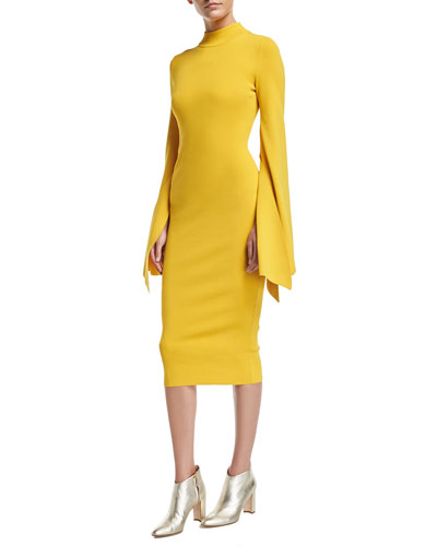 Ami Mock-Neck Bell-Sleeve Fitted Midi Dress