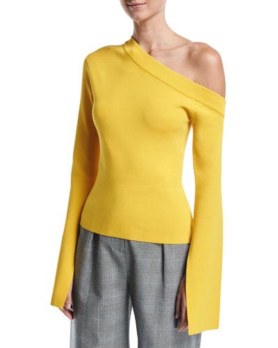 Mariette One-Shoulder Bell-Sleeve Ponte Top
