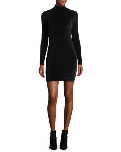 Long-Sleeve Turtleneck Velour Mini Dress w/ Back Cutout