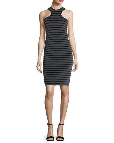 Striped Velour Racerback Tank Dress