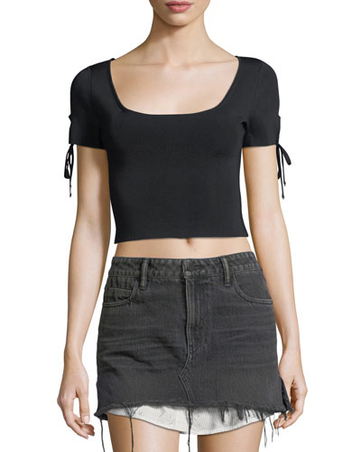 Full-Needle Rib Cropped Sweater w/ Tie Detail