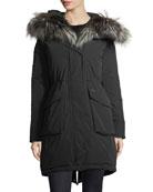 Military Hooded Midi Parka Coat w/ Fur Trim