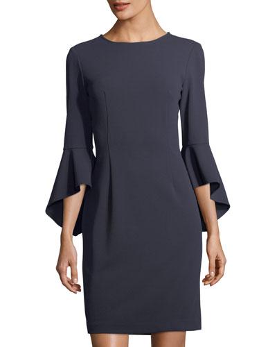 3/4-Sleeve Crepe Sheath Dress