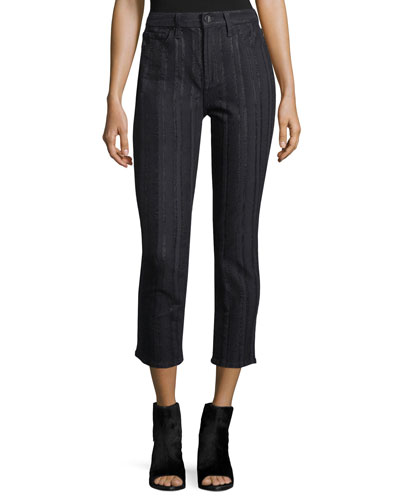 Metallic Striped Jacquard Skinny Ankle Pants