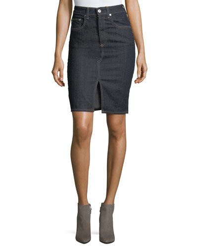 Emery High-Waist Pencil Denim Skirt