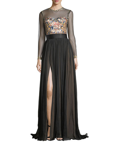 Jocelyn Evening Gown w/ Embroidered Illusion Bodice & Pleated Skirt