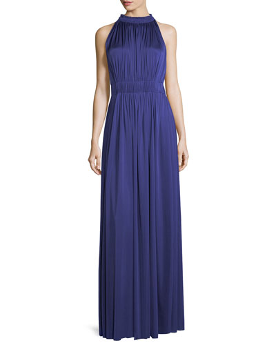 James Halter-Neck Sleeveless Pleated Evening Gown