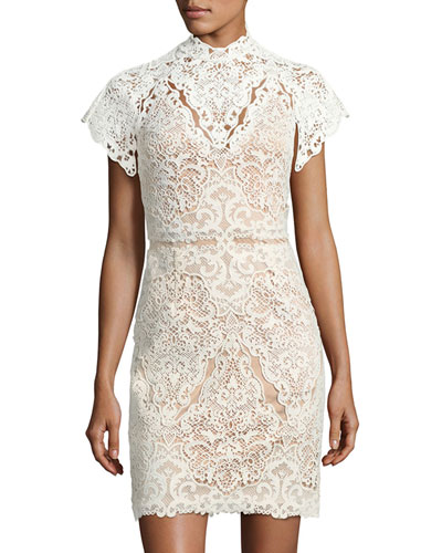 Java High-Neck Lace Mini Cocktail Dress