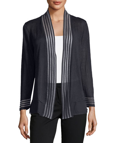 Sheer Stripe Open-Front Cardigan