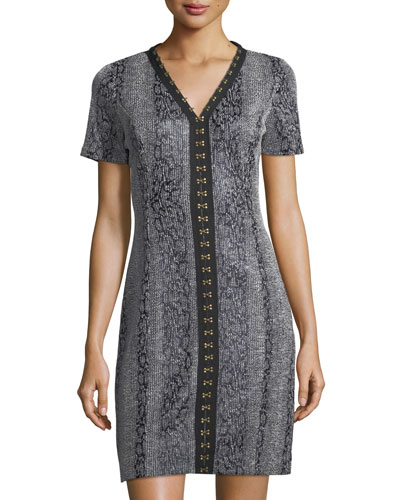 Sofia V-Neck Hook-Trim Dress