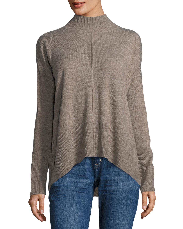 Mock-Neck Tunic Sweater