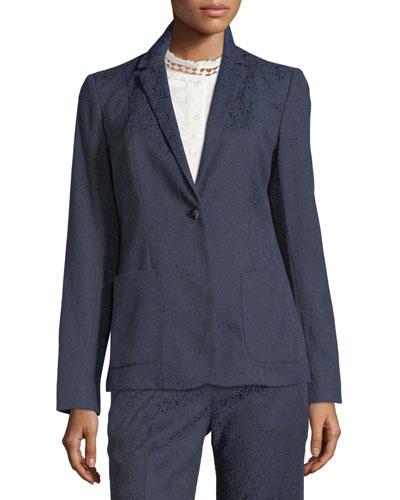 Damask-Print One-Button Jacket