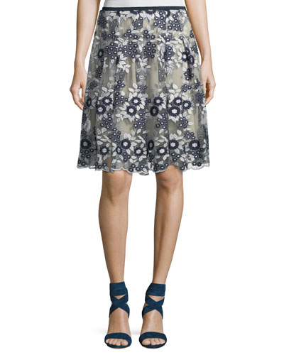 Nicole Floral Mesh A-Line Skirt