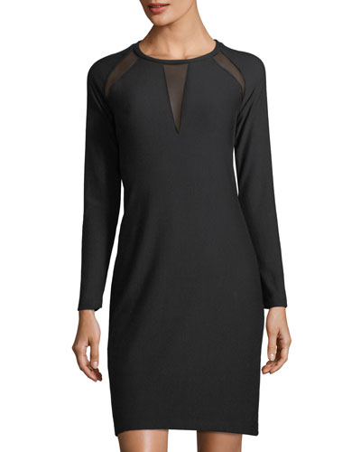 Leigh Mesh-Inset Knit Dress