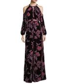 Casa Cold-Shoulder Floral Velvet Evening Dress