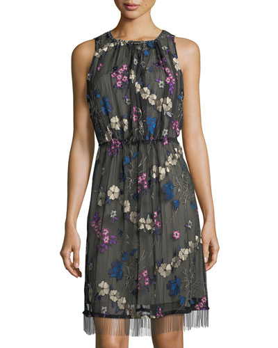 Talia Floral-Embroidered Dress