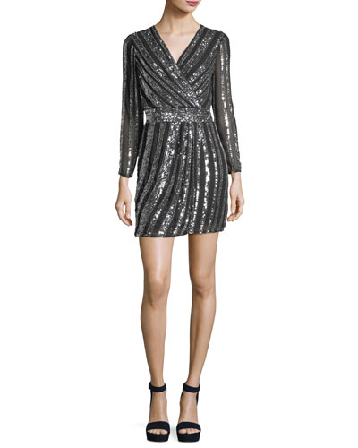 Kelsey Striped Sequin Cocktail Dress
