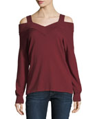 Cold-Shoulder V-Neck Top