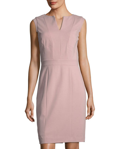 Ponte V-Neck Sheath Dress