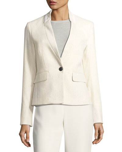 Tate Upcollar One-Button Blazer