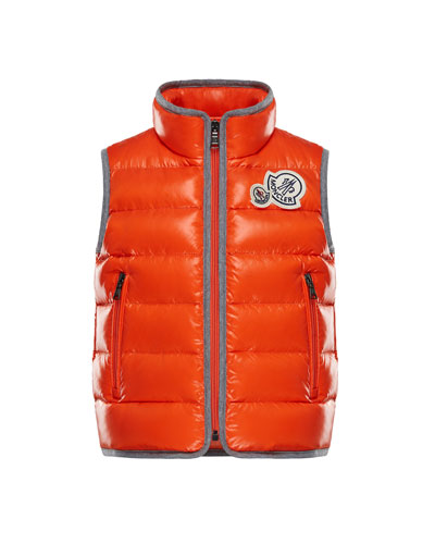 Bramont Contrast-Trim Quilted Vest, Size 4-6