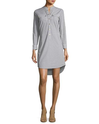 Striped Button-Down Dress