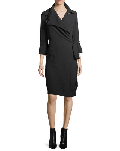 Roxy Silk Crepe Trench Dress