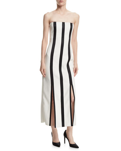 Strapless Striped Structured Midi Dress