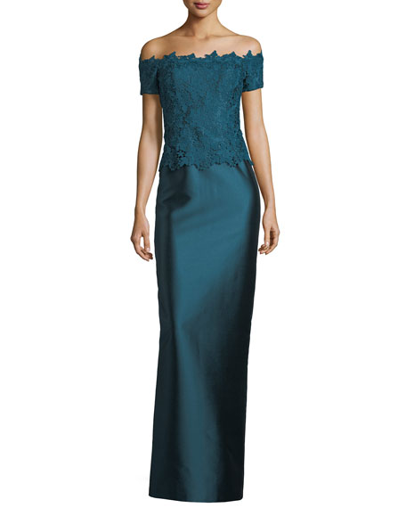 Rickie Freeman for Teri Jon Gazar Lace Off-the-Shoulder Column Gown