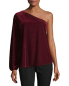 One-Shoulder Velvet Top