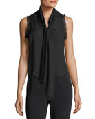 Eri Tie-Neck Button-Front Sleeveless Silk Blouse