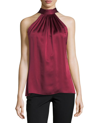 Paige Halter Sleeveless Satin Top