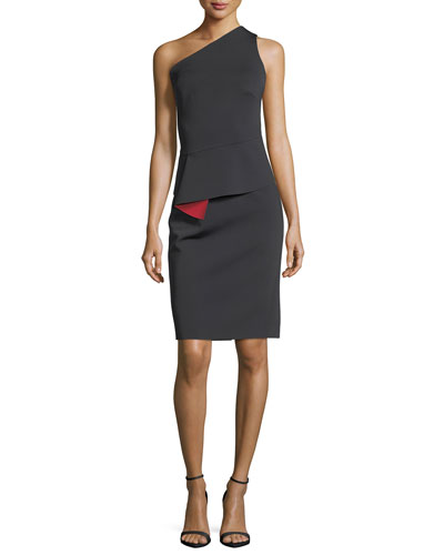 One-Shoulder Peplum-Waist Sheath Cocktail Dress
