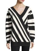 Ribbed Striped V-Neck Pullover